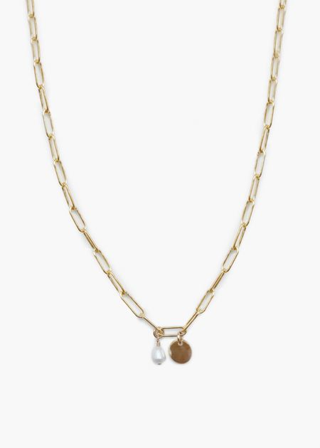 Able Essential Pearl/Mini Tag Chain Necklace - Gold