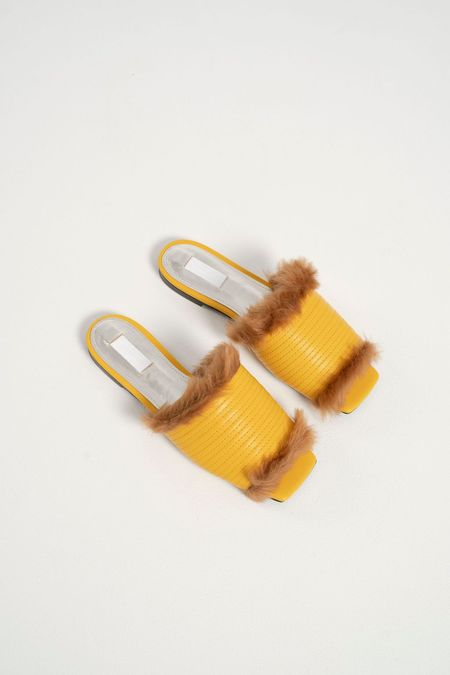 Suzanne Rae Faux Mink Slide - Yellow