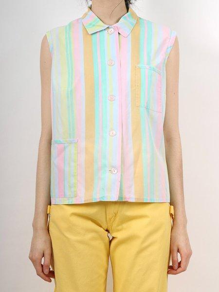 Vintage candy stripe mod blouse - pastel multi colour