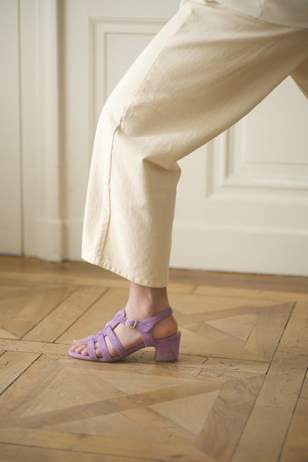 Anne Thomas Goudes  Velours Spring Crocus Sandals - Lilas