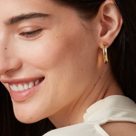 Jenny Bird Hidden Heart Medium Hoops - Gold