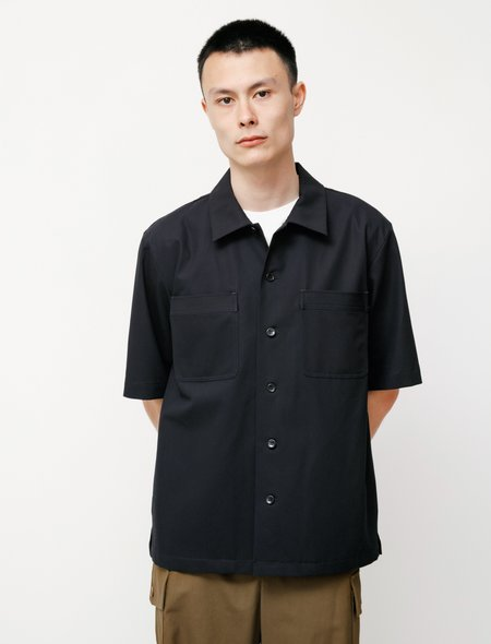 Niuhans Compact High Twisted Cotton Work Shirt - Navy