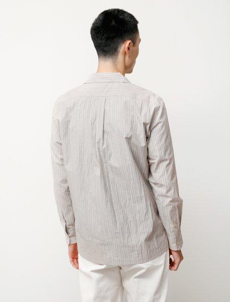 Niuhans Typewriter Cotton Pinstriped Open Collar Shirt - Beige