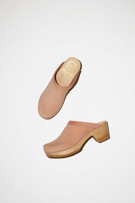 No.6 Old School Clog on Mid Heel - Pink Sand