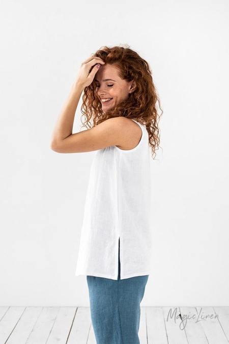MAGIC LINEN Cassis Linen Tank Top - white
