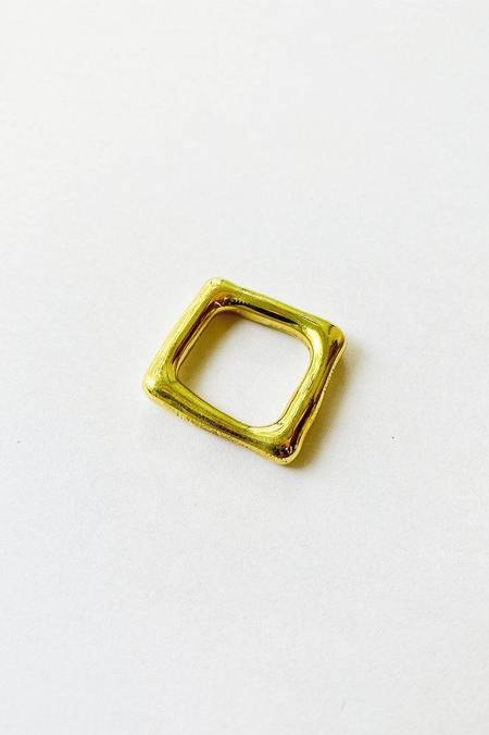 Jane D'Arensbourg Metal Org Square Ring - Brass