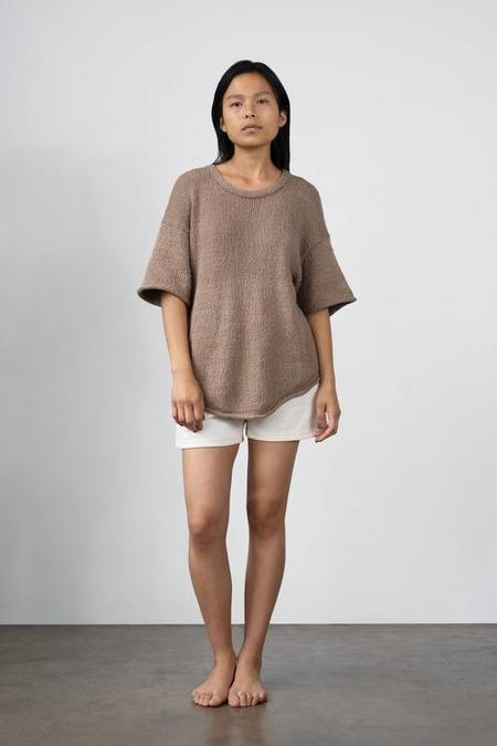 Wol Hide Loose Pullover Cotton Sweater - Mushroom