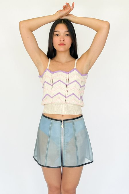 Vintage Paneled Mesh Skirt - blue
