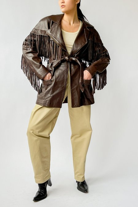 Vintage Leather Fringe Wrap Jacket - Brown