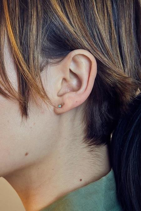 WWAKE Simple Bar Earrings - 10k yellow gold/Opal/Diamond