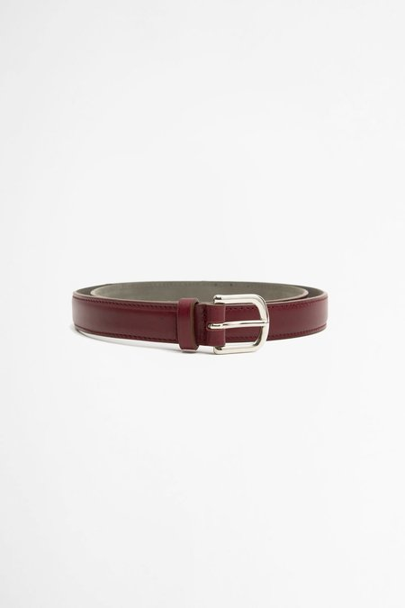 Del Barrio Slim Leather Belt - Burgundy
