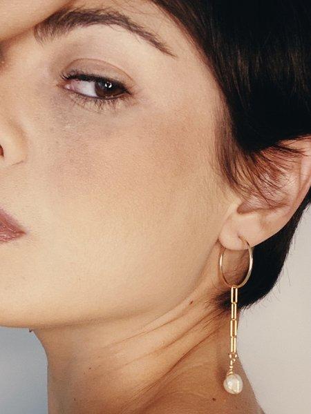 Cyntia Miglio Hoop Drop Link Earrings - Baroque Pearl