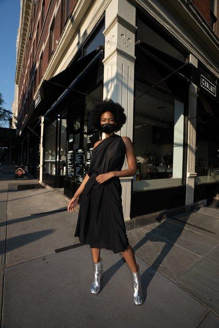 KES Double Wing Dress - Black Georgette