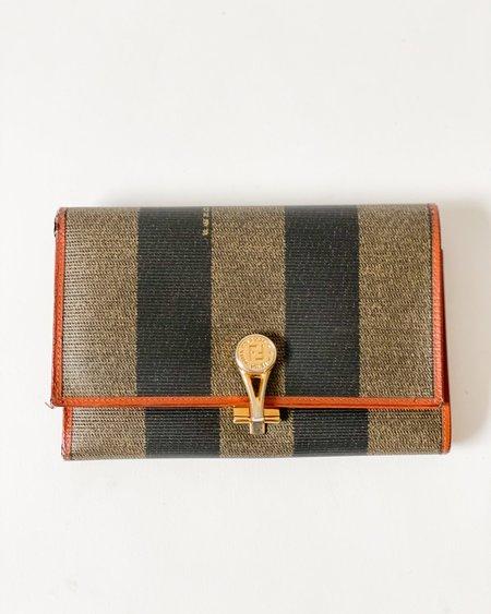 Vintage Fendi Striped Flap Lock Wallet