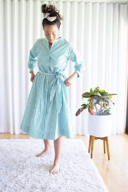 Alex Mill Gracie Striped Shirt Dress - Green/White