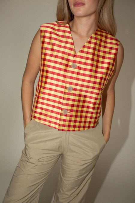 Coming of Age Vest - Red/Yellow Gingham