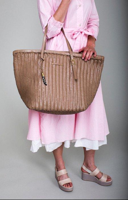 Kempton & Co Basket Weave Leather Tote - Blush