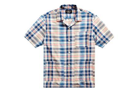 RRL Plaid Woven Camp Shirt - Indigo/Cream Multi