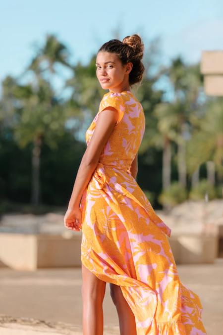 XIX Palms Canary Island Wrap Dress - Purple/Orange