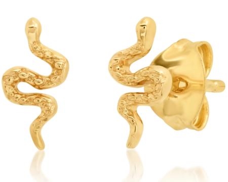 Tai Snake Post Earrings - 14k Yellow Gold