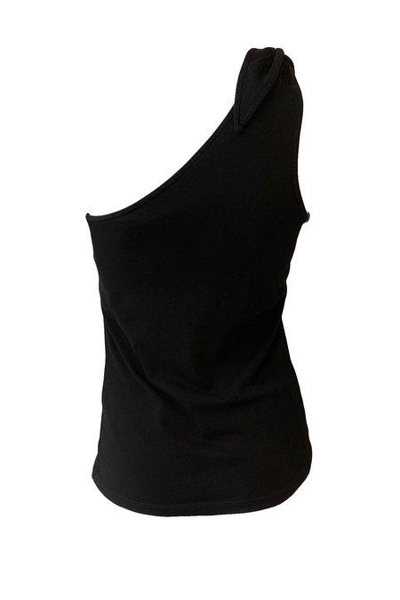 The Range Substance Jersey Knot One Shoulder Tank - Black