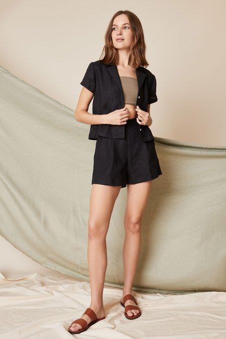Whimsy + Row Lena Button Down - Black Linen
