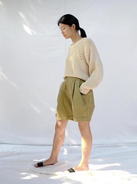 Micaela Greg Pleated Trouser Shorts - Lichen