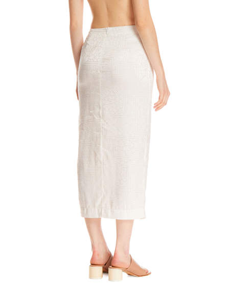 Rotate Caitlin Skirt with Embroidery - White