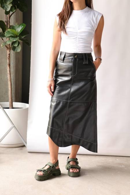 Ganni Leather Skirt - Black