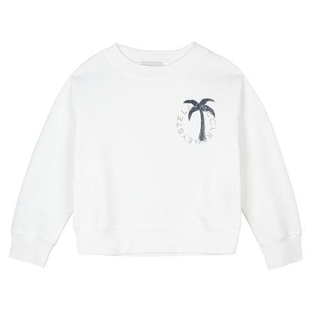 Kids Stella McCartney Sweatshirt With Logo Palm Print - White