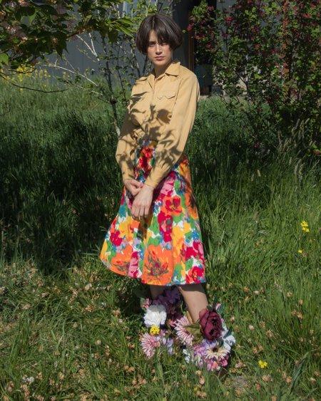 Vintage Wool Western Blouse - tan