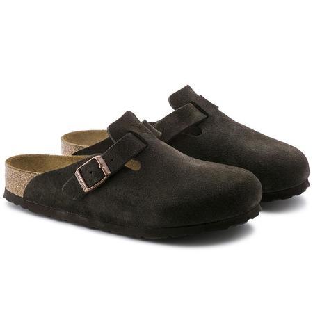 Birkenstock Boston Soft Footbed Suede Leather Regular sandaks - Mocha