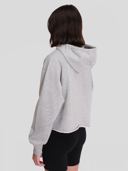 Reigning Champ Knit Pima Terry Cropped Hoodie - Heather Grey