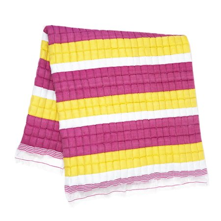 Archive New York Quilted Suzani Throw Blanket - Yellow/Pink Stripe
