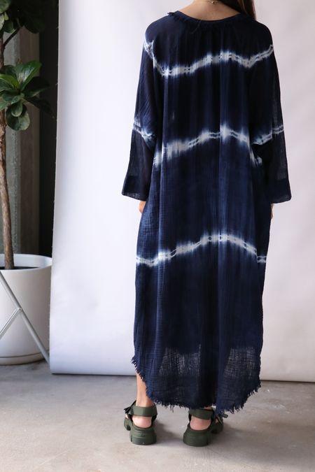 Raquel Allegra Poet Dress - Indigo Tie Dye