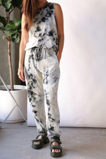 Raquel Allegra Tracker Pant - Black Lemon Tie Dye