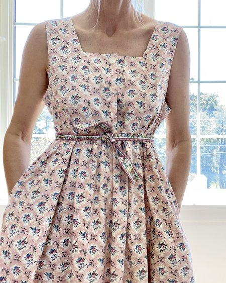 VINTAGE 1980s English Floral Cotton Dress - Pink