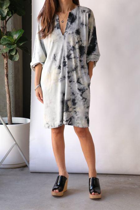 Raquel Allegra Getty Dress - Black Lemon Tie Dye