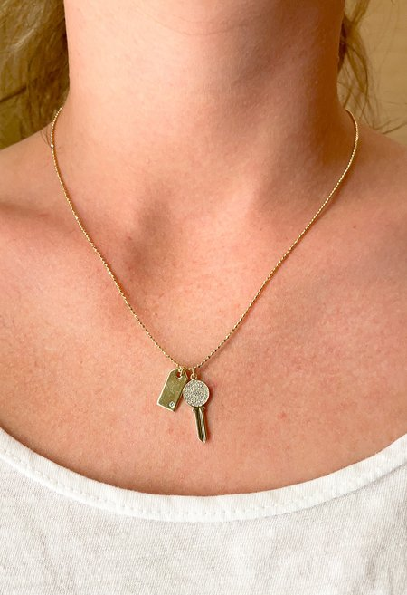 SS JEWELRY Lock and Key Charm Necklace - Gold