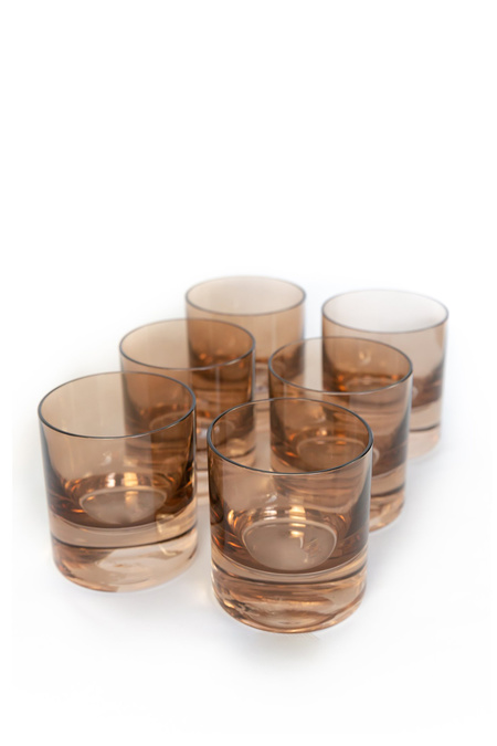 Estelle Colored Glass Rocks Set of 6 Glasses - Amber Smoke