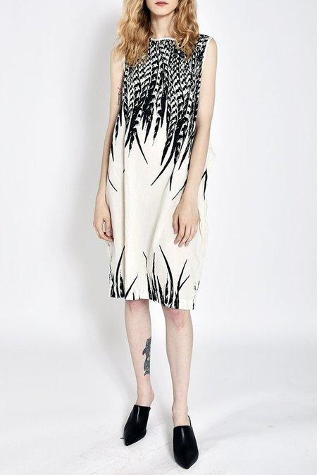 Uzi Nyc Printed Oxford Wrap Dress - Cream/Feather