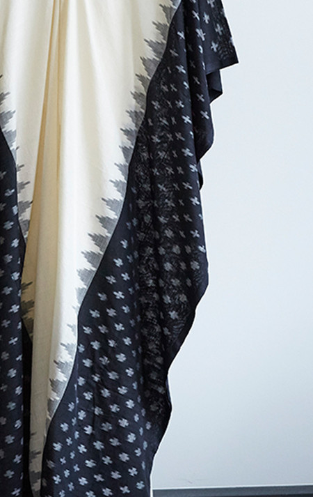 Two Ikat Caftan With Black Border - Cream/Black
