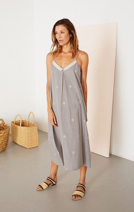 Two New York Khadi Grosgrain Ribbon Slip Dress - Gray
