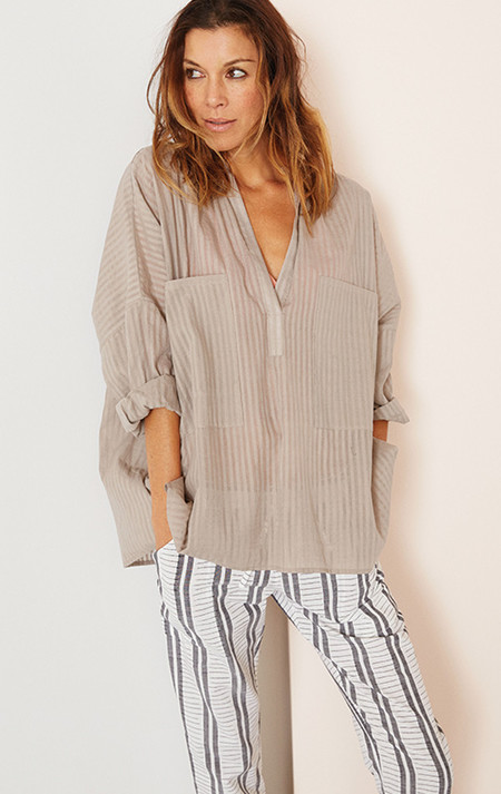 Two New York Khadi stripe Two Pocket Shirt-cement