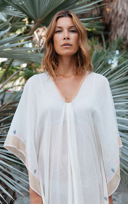 Two New York Natural white caftan with silk border