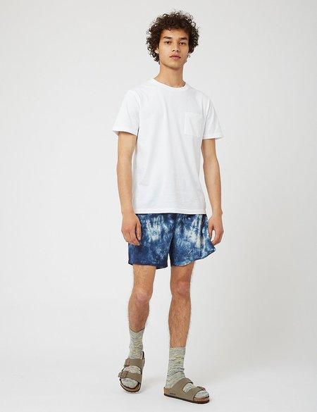 Bhode Drawstring Tie Dye Seersucker Shorts - Navy Blue