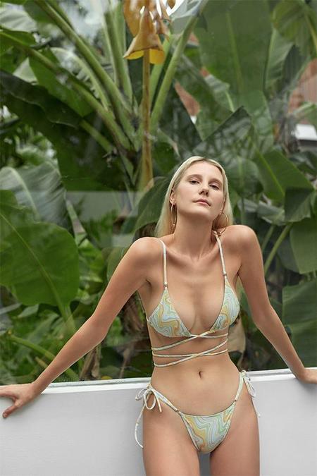 Palm Talise Double Wrap Triangle Bikini Top - Goldie Print