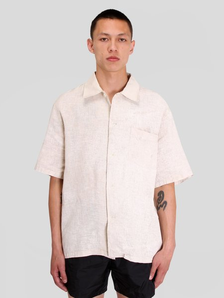 Our Legacy Coated Cotton Linen Shortsleeve Box Shirt - White