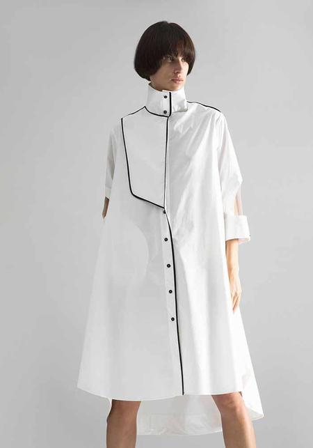 MiiN High Neck Piping Detail Cropped Sleeve Shirtdress - Black/White