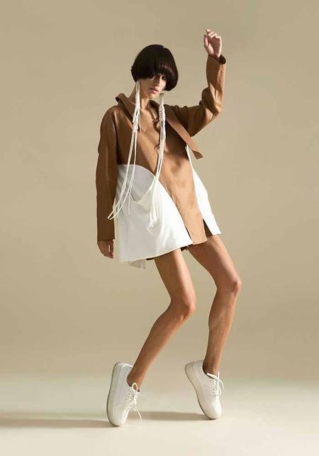 MiiN Linen and Cotton Asymmetric Swing Top - White/Brown